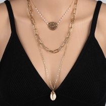 European Style Popular Necklace Ornament Fashion Natural Shell Multi-Layer Necklace Korean Style Temperament Accessories