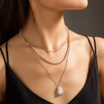 European Necklace Jewelry Elegant Simple Imitation Natural Stone Shaped Pendant Rhinestone Claw Chain Multi-Layer Necklace
