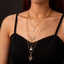 European Fashion Multi-Layer Necklace Retro Snake-Shaped Necklace Exaggerated Street Shot Lock Key Multi-Element Set Necklace