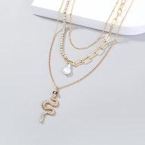 European Fashion Necklace Personalized Metal Snake Pendant Necklace Retro Imitation Pearl Multi-Layer Stitching Necklace