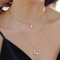 Internet Celebrity European and American Double-Layer Necklace Natural Freshwater Pearl Water Drop Pendant Necklace