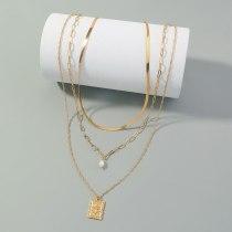 European New Versatile Multi-Layer Twin Necklace Hip Hop Street Rose Pendant Necklace Fashion Metal Necklace for Women