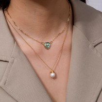 Europe and America Natural Color Abalone Shell Triangle Pendant Personality Wild Natural Freshwater Pearl Necklace Ins