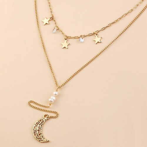 European and American Ins Hot-Selling Necklace Women's Simple Design Moon XINGX Tassel Combination Double-Layer Necklace