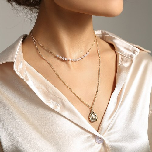 Hot Gold Shaped Water Drop Tag Necklace Handmade Pearl Necklace Summer Beach Accessories