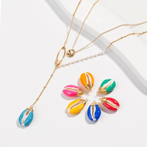 Best Seller in Europe and America Multi-Color Oil Shell Multi-Layer Necklace Golden Douban Pendant
