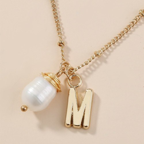 Double Layer Snake Chain Necklace Natural Pearl Pendant European and American Simple Ins Style Fashion Hot-Selling Ornament