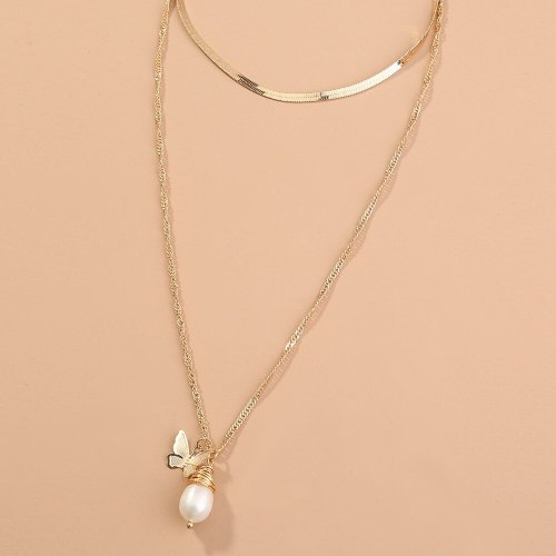 Partysu Fashion Simple Butterfly Natural Bead Pendant Clavicle Chain Special-Interest Design Multi-Layer Metal Necklace