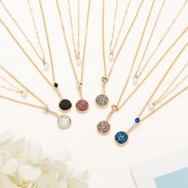 Best Seller in Europe and America Double-Layer Clavicle Chain Fashion Multicolor Vug round Pendant Necklace