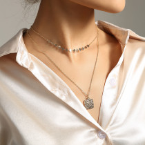 Simple European and American Style Women's Multi-Layer Necklace 18K Gold Square Metal Pendant Necklace Clavicle Chain