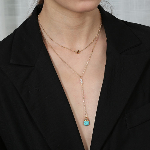 New Hot Double-Layer Clavicle Chain Natural Turquoise Water Drop Pendant Simple Diamond Letter X All-Match Necklace