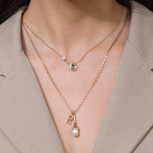 Best Seller in Europe and America Simple Fashion Letter a Pendant Necklace Temperament Imitation Pearl Necklace Female