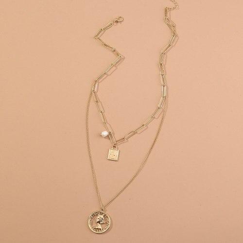 European and American New Accessories High Profile Fashion Multi-Layer Plaid Chain Necklace Vintage Roman Portrait Ornament