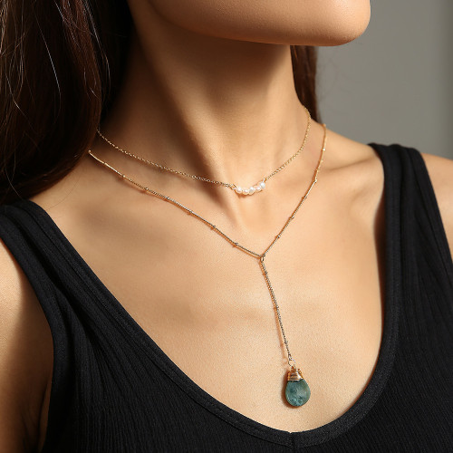 European and American Ladies Necklace Freshwater Pearl Chain Khaki Neck Natural Agate Pendant Necklace Double Layer Necklace