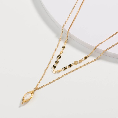 Europe and America Women's Multi-Layer Necklace Metal Bead Chain Card Necklace Gold Edging Natural Freshwater Pearl Accessories