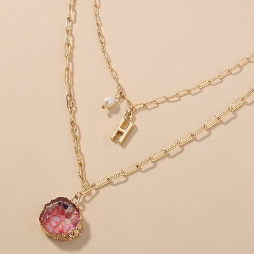 European and American Jewelry Double Layer Twin Plaid Chain Red Resin Pendant Necklace Pearl Letter H Necklace Ins
