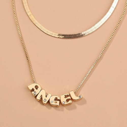 New Arrival Hot Sale Personalized Fashionable All-Match Detachable Necklace Angel Letter Multilayer Collarbone Necklace Necklace