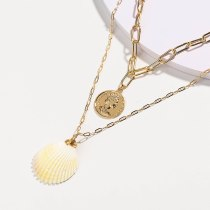 European and American Fashion Popular Beach Ornament Vintage Gold Coin Head Tag Natural Pink Scallop Multi-Layer Necklace