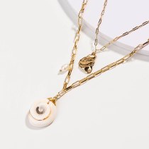 European and American New Ornament Natural Shell Freshwater Pearl Multi-Layer Necklace Jewelry