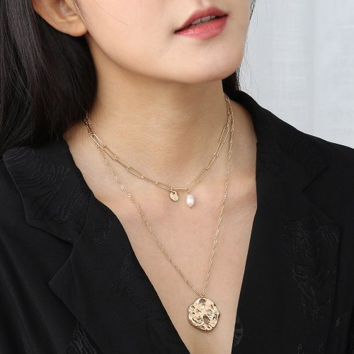 European and American Ins Trendy Jewelry Personality Creative Strange Shape round Plate Pendant Necklace