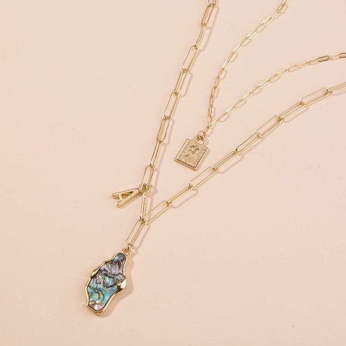 European and American Multi-Layer Lock Cylinder Multi-Layer Pendant Trendy Versatile Multi-Color Abalone Shell Necklace