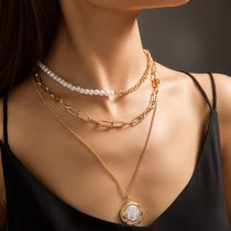 Europe and America Cross Border Summer New Pure White Imitation Flat Pearl Stitching Necklace Women's Multi-Layer Chain Necklace