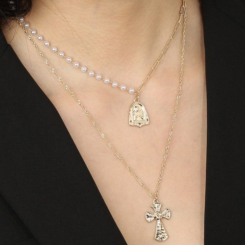 European and American Normcore Style Necklace Double Layer Vintage Cross Portrait Pendant Personality All-Match Necklace Female