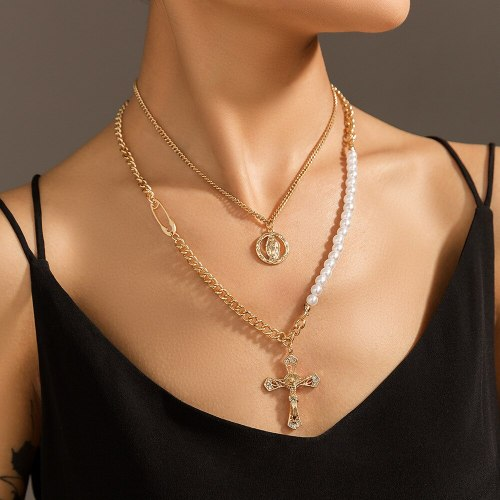 Ornament Personality Trend Cross Portrait Pendant Double Layer Europe and America Cross Border Necklace Pearl Necklace
