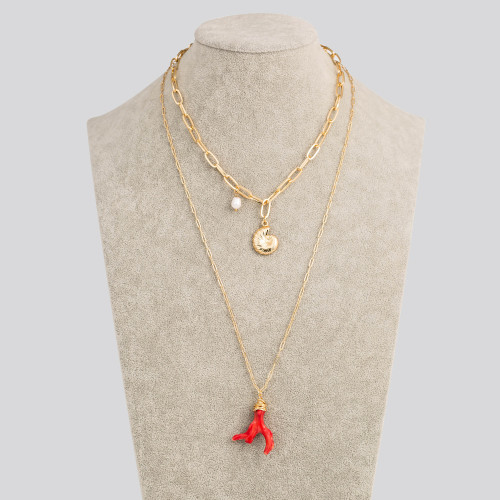 European and American New Accessories Natural Freshwater Pearl Coralite Multi-Layer Necklace Metal Conch Pendant Ornaments Women