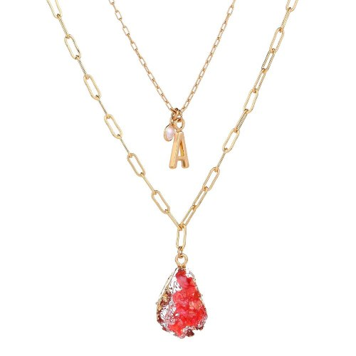 Best Seller in Europe and America Women's Necklace Natural Stone Imitated Water Drop Pendant Necklace