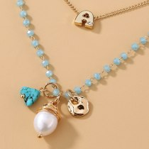 European and American Necklaces Women's Simple and Fresh Mixed Natural Bead Pendant Double-Layer Clavicle Chain Twin Necklace