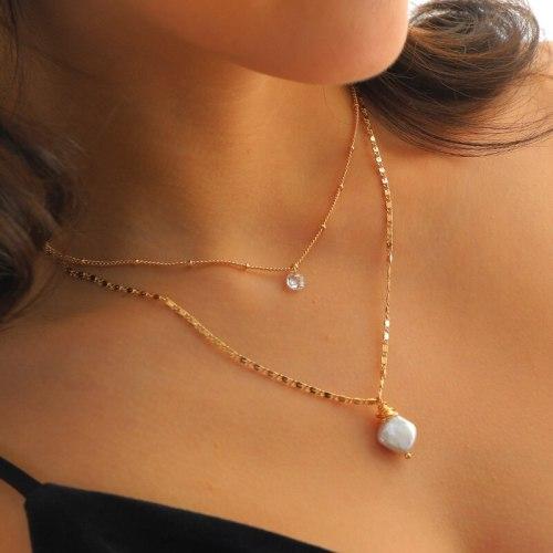Fashion Women's Jewelry Elegant Graceful Necklace Baroque Pearl Pendant Multi-Layer Necklace