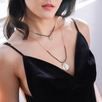 European and American Multi-Layer Jewelry Necklace Black Handmade Bead Necklace Gold Vintage Coins Pendant Necklace for Women