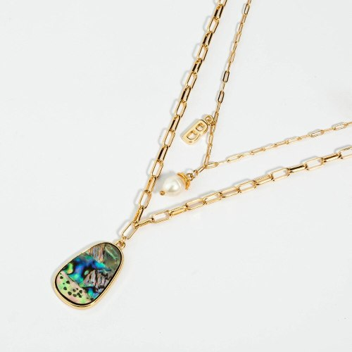 European and American Trendy Jewelry Street Hip-Hop Plaid Chain Freshwater Pearl Necklace Oval Abalone Shell Letter Necklace