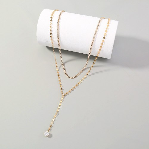 European and American New Fashion Shiny Grab Chain Simple Decoration Golden, round Sequined Zircon Pendant Double-Layer Necklace