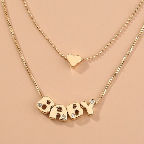 Best Seller in Europe and America Fashion Baby Heart-Shaped Double-Layer Simple Versatile Layered Multi-Layer Metal Necklace