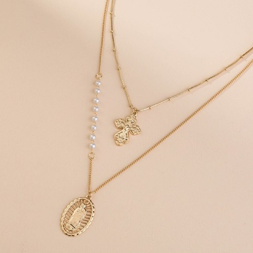 Europe and America New Accessories High Profile Fashion Multi-Layer Metal Texture Cross All-Match Necklace Accessories
