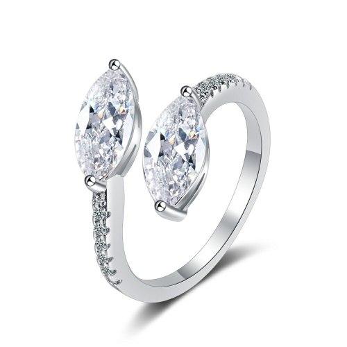 Korean Flash Zirconium Diamond Ring Open Mouth Design Fashionable Temperament Ring Women's Ring Bracelet Xzjz399