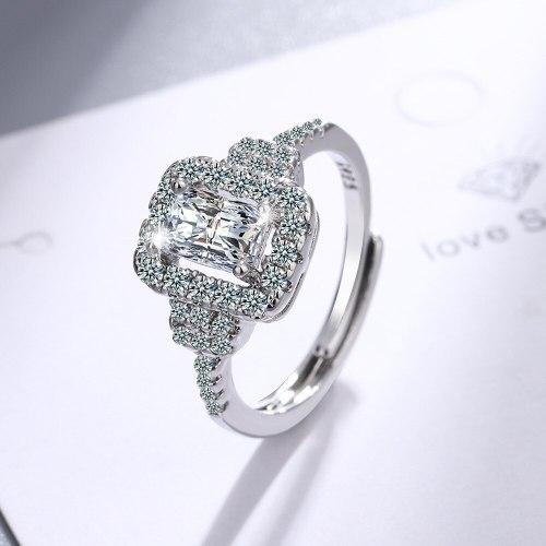 Korean Style Fashion Wedding Diamond Ring Women's Round Wide Face Ring Bracelet Xzjz405