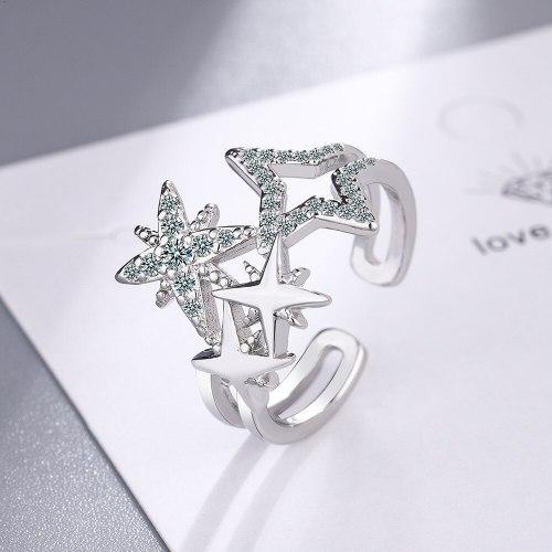Fashion Wedding Ring Female round Zirconium Diamond Wide Surface Women's Ring Bracelet Ring Xzjz407