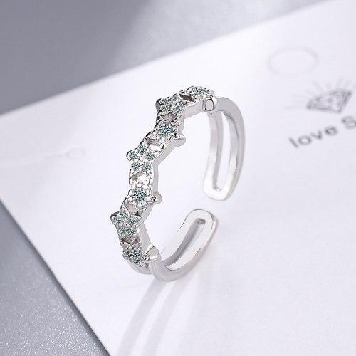 Korean Style Open Ring Women's Round Zirconium Wide Face Ring Bracelet Xzjz408