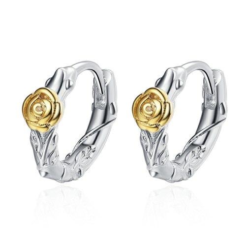 Ear Clip Women's Rose Gold Stud Earrings Fashion Ring Personality Retro Distressed Earrings Xzeh635