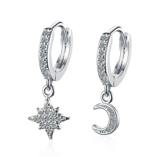 Korean Style Simple Fresh Diamond Earrings Xingyue Ear Clip Sweet Asymmetric Stud Earrings Xzeh641