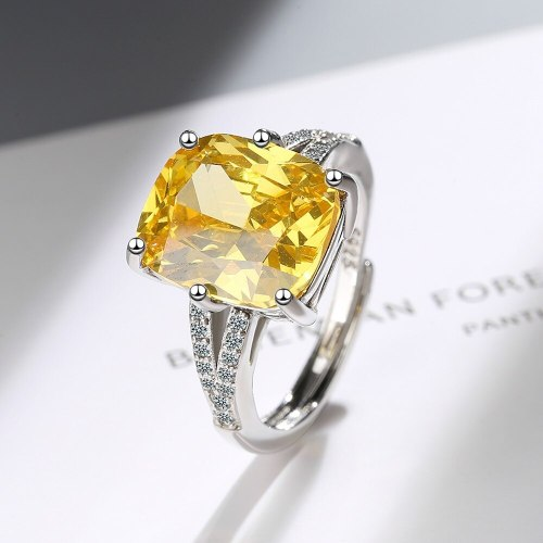 Yellow Zircon Ring Female Square Zirconium Diamond Wide Surface Women's Ring Bracelet Ring Personality XZJZ394