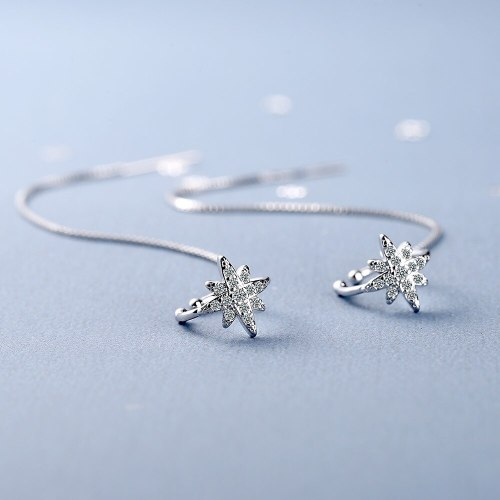 Diamond-Embedded Ear Clip Women's Korean-Style Fashion Personality Six-Pointed Star Long Ear Line Jewelry Xzeh645