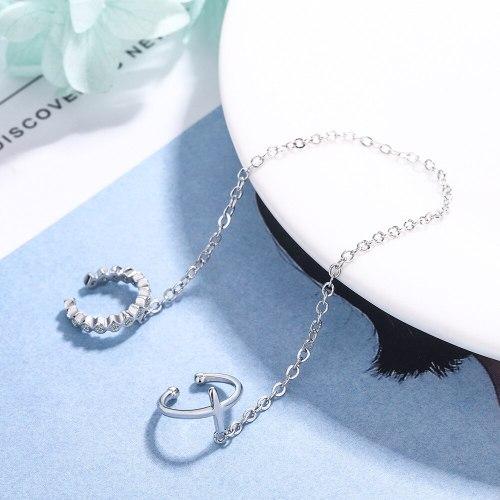 Cross Hanging Earrings Women's Korean-Style Fresh Zirconium Diamond-Inlaid Two-Piece Ear Clip Long Ear Chain Ear Rings Xzeh646