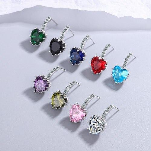 Women's European Fashion Zircon Sea Blue Heart-Shaped Earrings Sweet Heart-Shaped Ear Jewelry Women's Xzed927