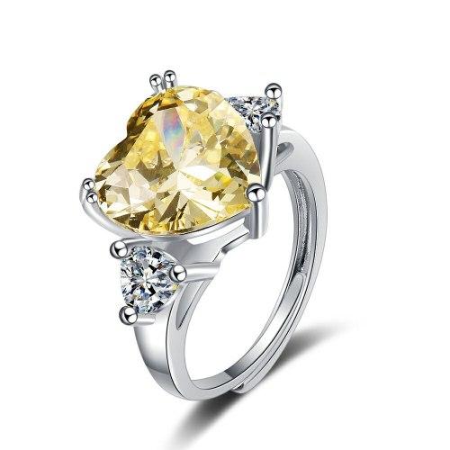 Flash Zirconium Diamond Ring Open Mouth Design Fashionable Temperament Heart-Shaped Ring Women's Ring Bracelet Xzjz400