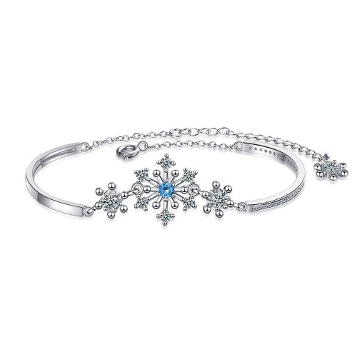 Mori Style Simple Bracelet Elegant Snowflake Bracelet Fresh Zircon Inlaid Diamond Bracelet Bracelet for Women