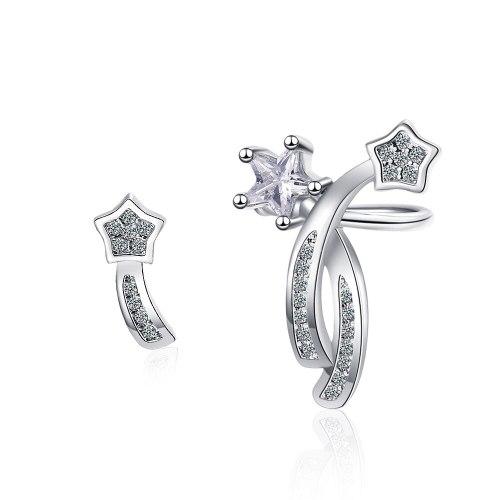 Women's Korean-Style Diamond-Embedded Asymmetric XINGX Sweet Ear Clip Earrings Xzed921